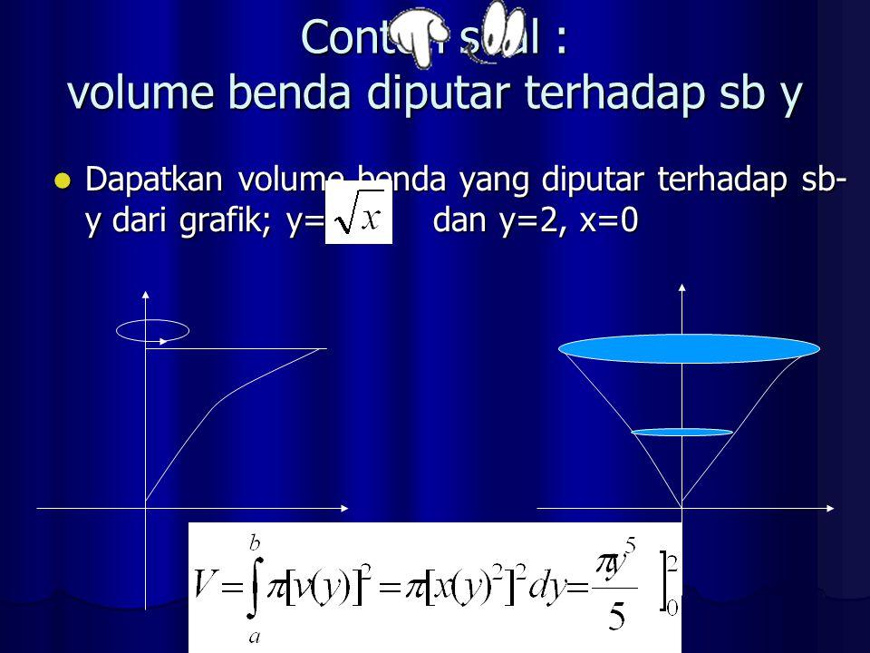 Contoh soal : volume benda diputar terhadap sb y Dapatkan volume benda yang diputar terhadap sb- y dari grafik; y= dan y=2, x=0 Dapatkan volume benda