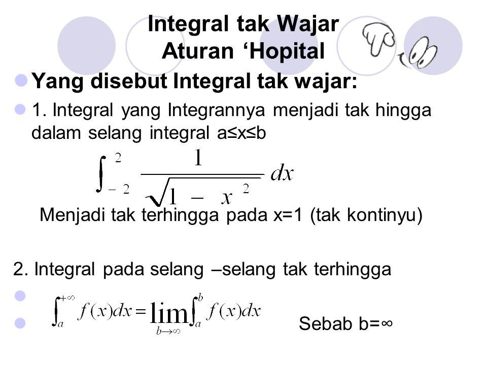 Integral tak Wajar Aturan 'Hopital Yang disebut Integral tak wajar: 1. Integral yang Integrannya menjadi tak hingga dalam selang integral a≤x≤b Menjad