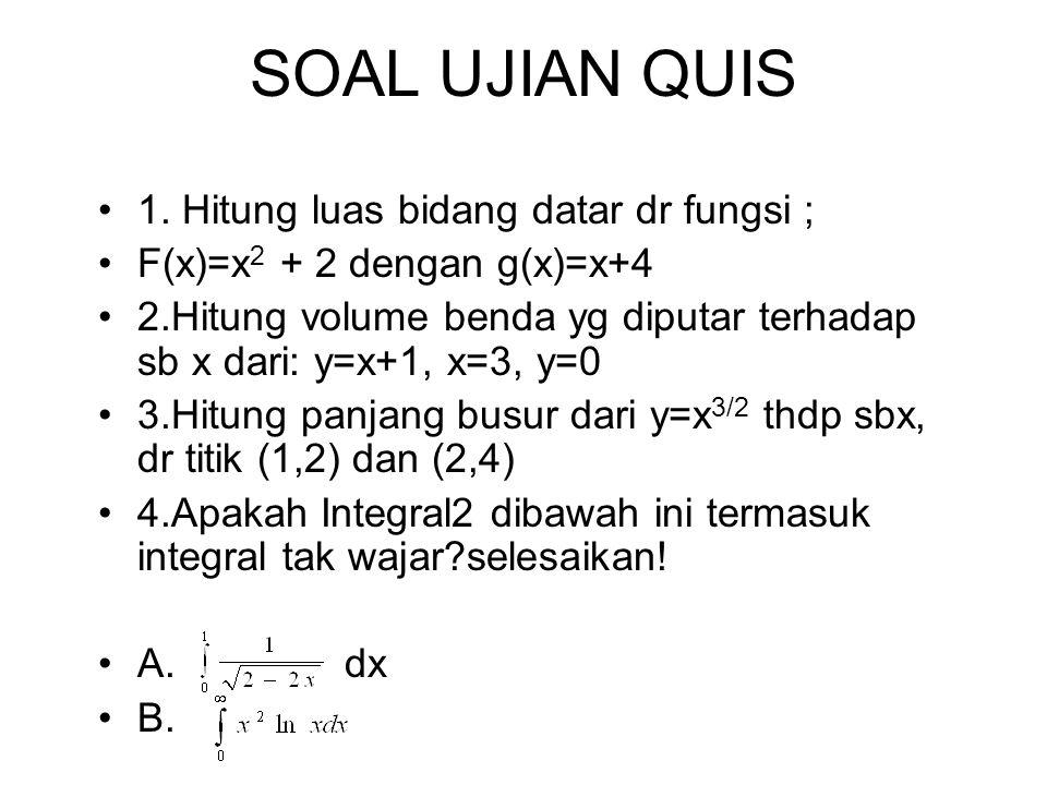 SOAL UJIAN QUIS 1. Hitung luas bidang datar dr fungsi ; F(x)=x 2 + 2 dengan g(x)=x+4 2.Hitung volume benda yg diputar terhadap sb x dari: y=x+1, x=3,