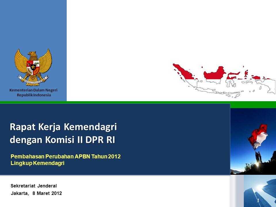 Kementerian Dalam Negeri Republik Indonesia Rapat Kerja Kemendagri dengan Komisi II DPR RI Jakarta, 8 Maret 2012 Sekretariat Jenderal Pembahasan Perubahan APBN Tahun 2012 Lingkup Kemendagri 1