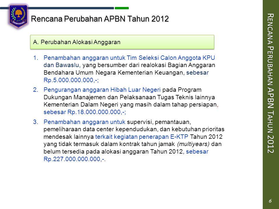 6 Rencana Perubahan APBN Tahun 2012 R ENCANA P ERUBAHAN APBN T AHUN 2012 6 A. Perubahan Alokasi Anggaran 1.Penambahan anggaran untuk Tim Seleksi Calon