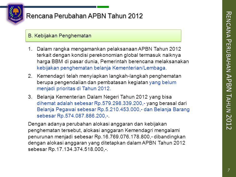 7 Rencana Perubahan APBN Tahun 2012 R ENCANA P ERUBAHAN APBN T AHUN 2012 7 B.