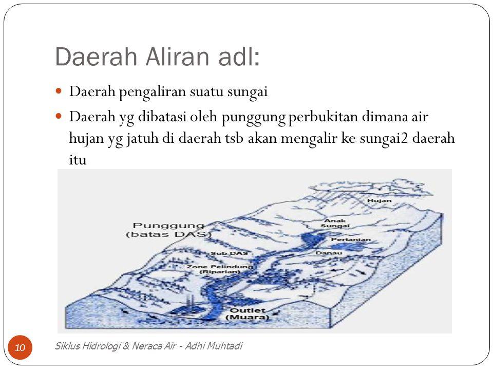 Daerah Aliran adl: Daerah pengaliran suatu sungai Daerah yg dibatasi oleh punggung perbukitan dimana air hujan yg jatuh di daerah tsb akan mengalir ke