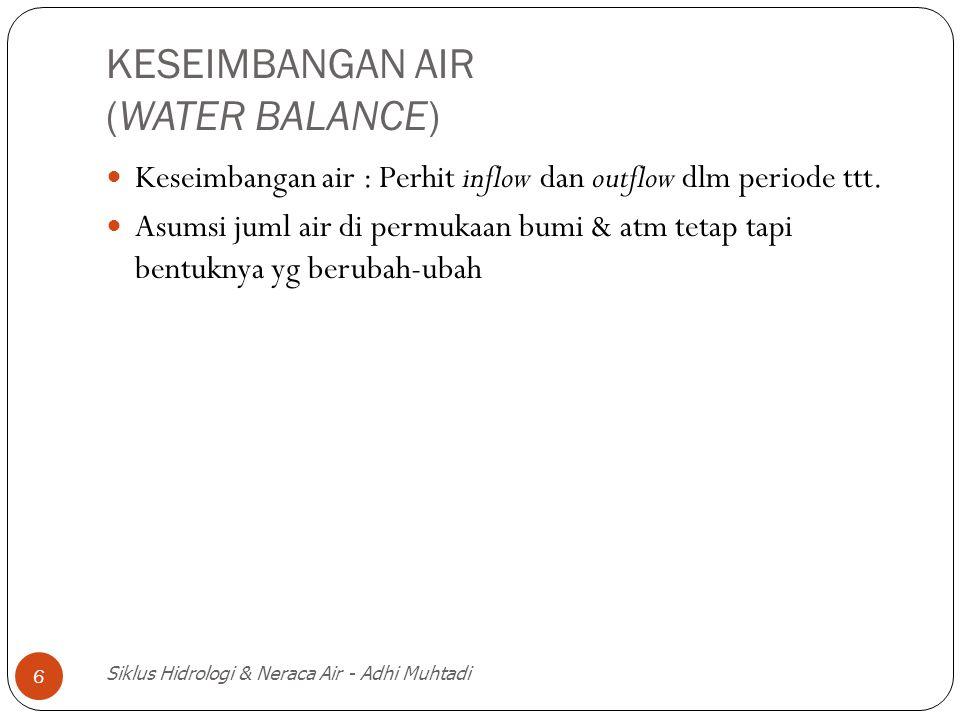 Siklus Hidrologi & Neraca Air - Adhi Muhtadi 7 Run Off = Presipitasi – Perub storage = Hujan – perub storage Q = P - S' S' = E + T + I + I A E = evaporasi = penguapan air permukaan & laut T = Transpirasi = penguapan oleh tumb I = Infiltrasi = Aliran air masuk ke dlm tnh I A = depresi storage (abstracsi)