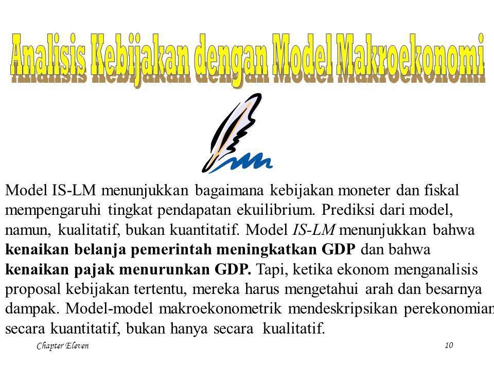 Chapter Eleven9 Model IS-LM menunjukkan bahwa kebijakan moneter mempengaruhi pendapatan dengan mengubah tingkat bunga. Kesimpulan ini memperluas anali