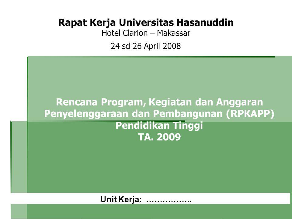 Rapat Kerja Universitas Hasanuddin Hotel Clarion – Makassar 24 sd 26 April 2008 Rencana Program, Kegiatan dan Anggaran Penyelenggaraan dan Pembangunan (RPKAPP) Pendidikan Tinggi TA.