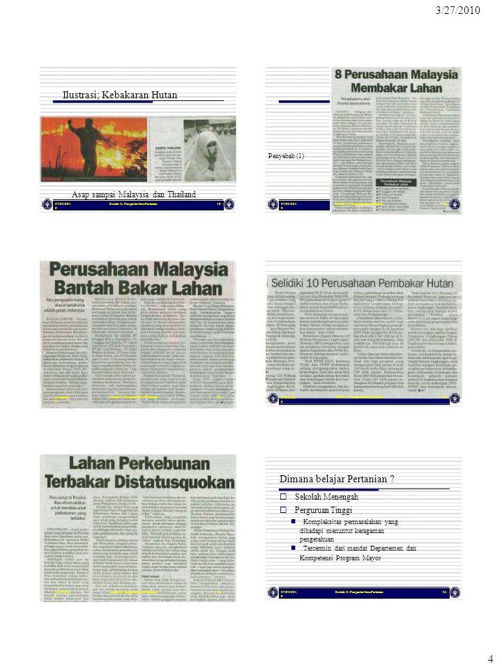 4 3/27/2010 Ilustrasi; Kebakaran Hutan Penyebab (1) Asap sampai Malaysia dan Thailand 27/03/201 0 27/03/201 0 Kuliah II, Pengantar Ilmu Pertanian 19 21 27/03/201 0 27/03/201 0 Kuliah II, Pengantar Ilmu Pertanian 20 22 27/03/201 0 Kuliah II, Pengantar Ilmu Pertanian2327/03/201 0 Kuliah II, Pengantar Ilmu Pertanian24 Dimana belajar Pertanian .