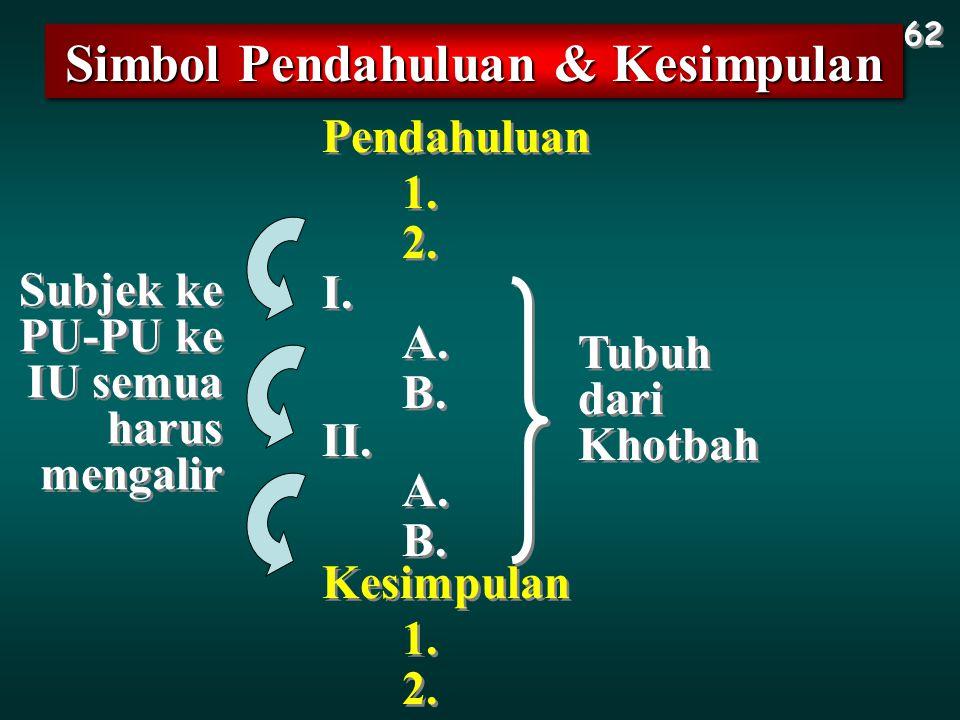 Simbol Pendahuluan & Kesimpulan 62 I. A. Pendahuluan B. 1. 2. II. A. B. Kesimpulan 1. 2. Tubuh dari Khotbah Subjek ke PU-PU ke IU semua harus mengalir