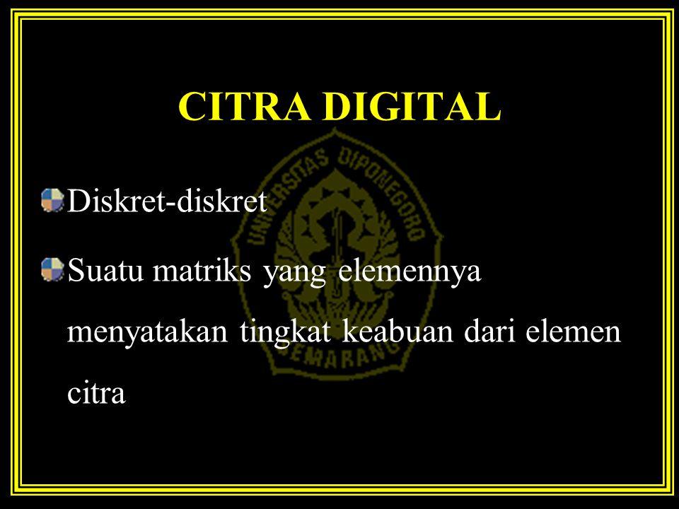 CITRA DIGITAL Diskret-diskret Suatu matriks yang elemennya menyatakan tingkat keabuan dari elemen citra