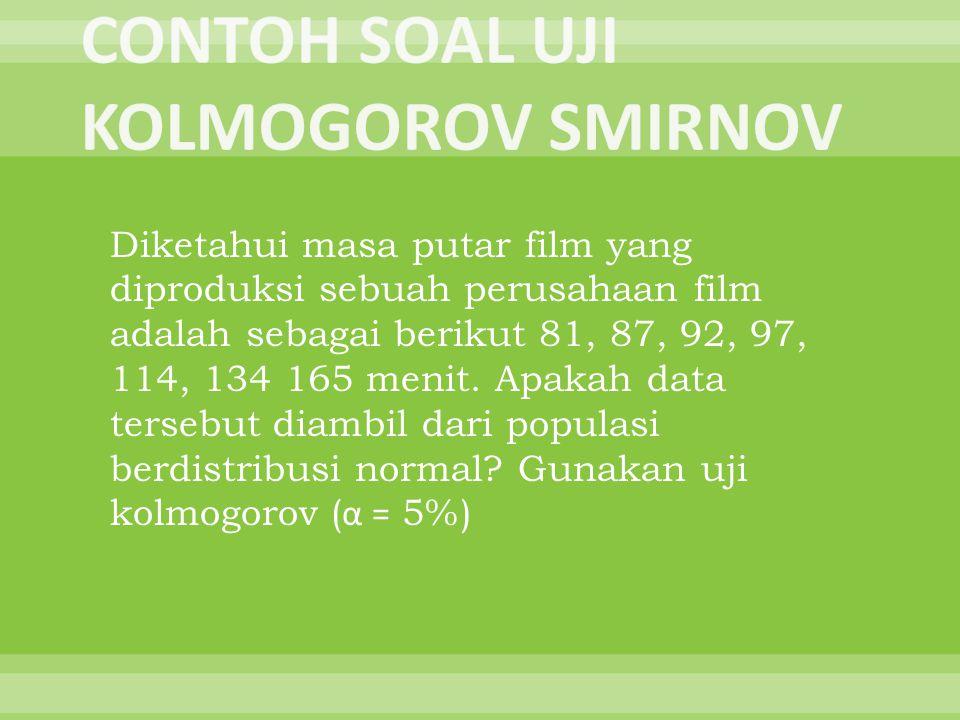 Diketahui masa putar film yang diproduksi sebuah perusahaan film adalah sebagai berikut 81, 87, 92, 97, 114, 134 165 menit. Apakah data tersebut diamb