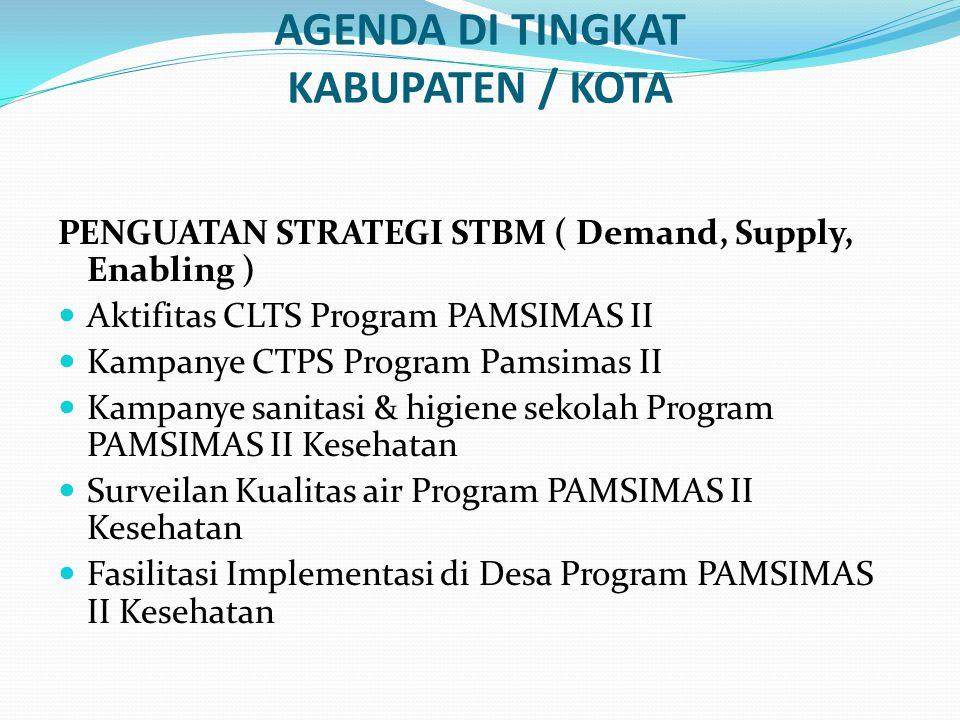 AGENDA DI TINGKAT KABUPATEN / KOTA PENGUATAN STRATEGI STBM ( Demand, Supply, Enabling ) Aktifitas CLTS Program PAMSIMAS II Kampanye CTPS Program Pamsi