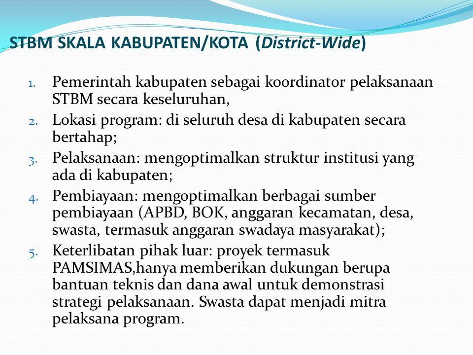STBM SKALA KABUPATEN/KOTA (District-Wide) 1. Pemerintah kabupaten sebagai koordinator pelaksanaan STBM secara keseluruhan, 2. Lokasi program: di selur