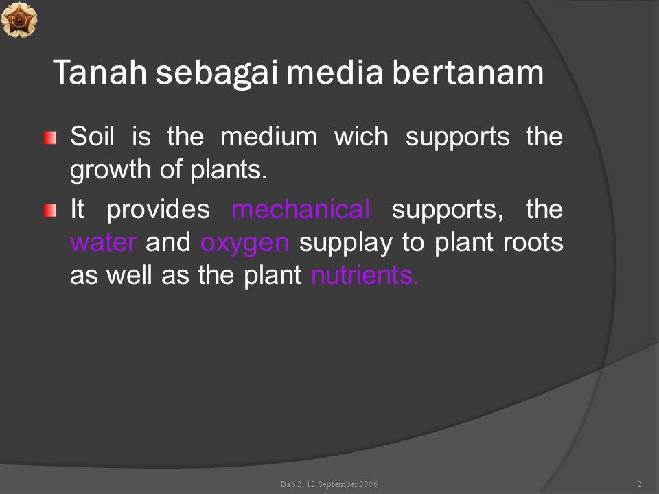 Tanah sebagai media bertanam  Tiga fase penyusun tanah yaitu: fase padat, cair dan gas  mempengaruhi pasokan hara untuk tanaman  Fase padat  cadangan (reservoir) hara yang utama.