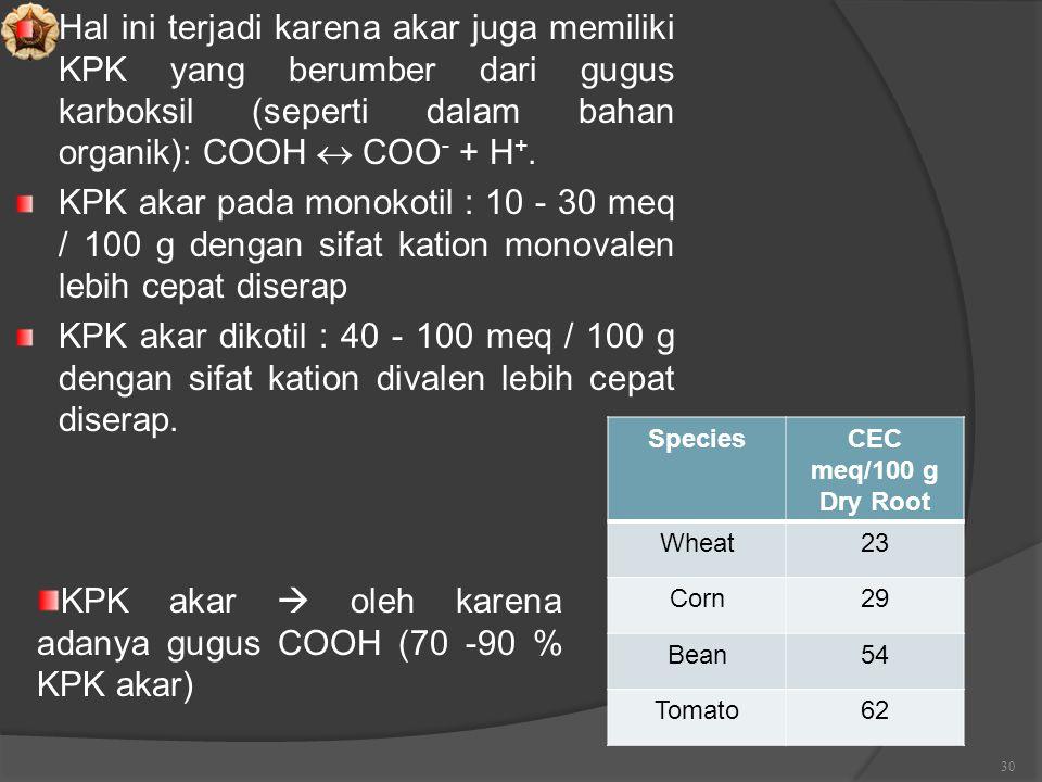 Hal ini terjadi karena akar juga memiliki KPK yang berumber dari gugus karboksil (seperti dalam bahan organik): COOH  COO - + H +. KPK akar pada mono