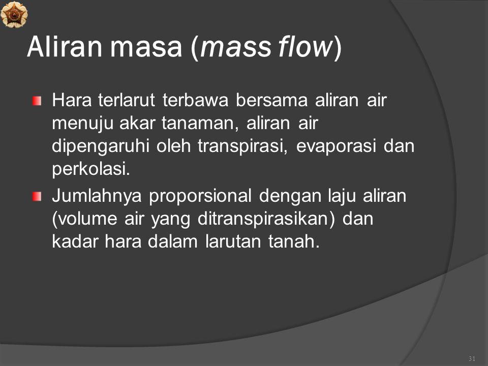 Aliran masa (mass flow) Hara terlarut terbawa bersama aliran air menuju akar tanaman, aliran air dipengaruhi oleh transpirasi, evaporasi dan perkolasi