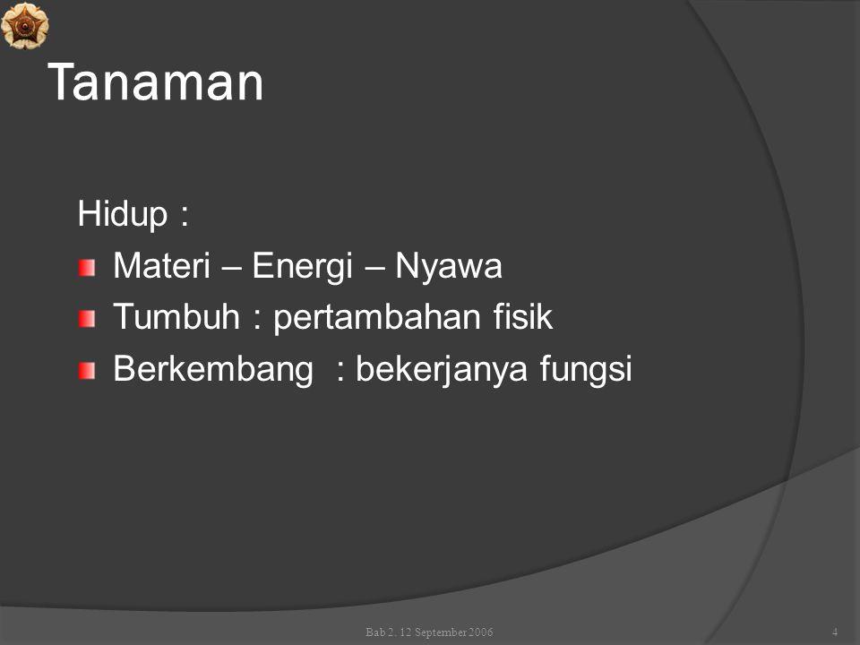 Tanaman Hidup : Materi – Energi – Nyawa Tumbuh : pertambahan fisik Berkembang : bekerjanya fungsi Bab 2. 12 September 20064