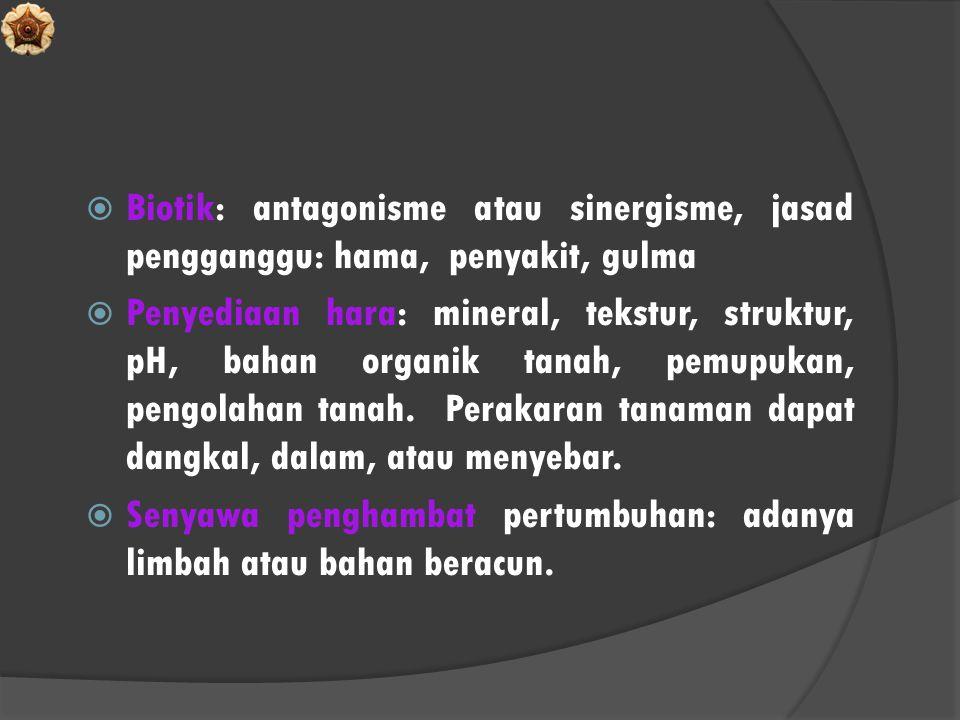  Biotik: antagonisme atau sinergisme, jasad pengganggu: hama, penyakit, gulma  Penyediaan hara: mineral, tekstur, struktur, pH, bahan organik tanah,