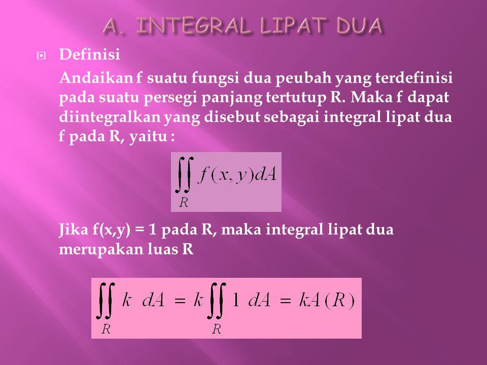  Definisi Andaikan f suatu fungsi dua peubah yang terdefinisi pada suatu persegi panjang tertutup R. Maka f dapat diintegralkan yang disebut sebagai