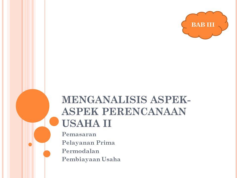 MENGANALISIS ASPEK- ASPEK PERENCANAAN USAHA II Pemasaran Pelayanan Prima Permodalan Pembiayaan Usaha BAB III