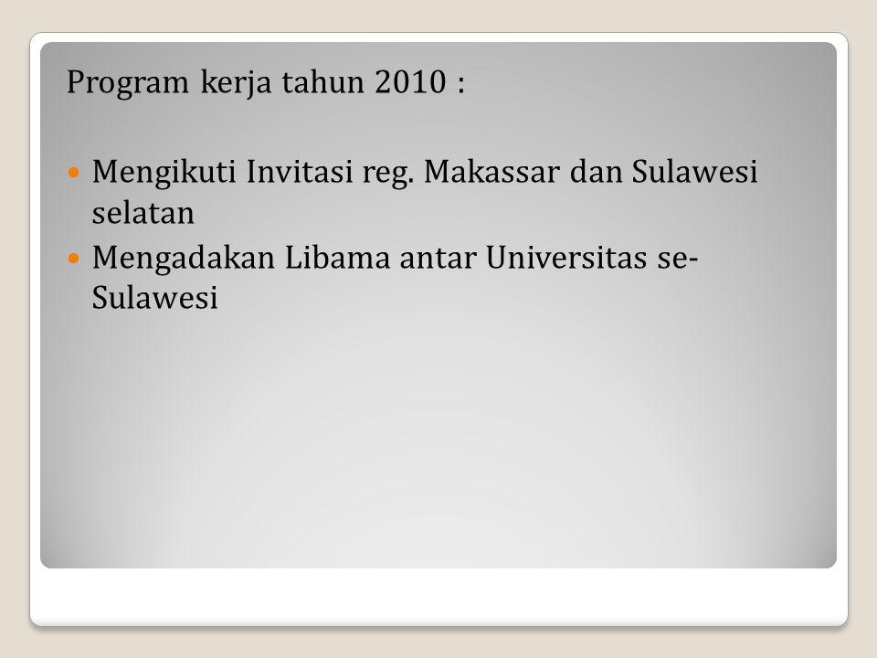 Program kerja tahun 2010 : Mengikuti Invitasi reg. Makassar dan Sulawesi selatan Mengadakan Libama antar Universitas se- Sulawesi