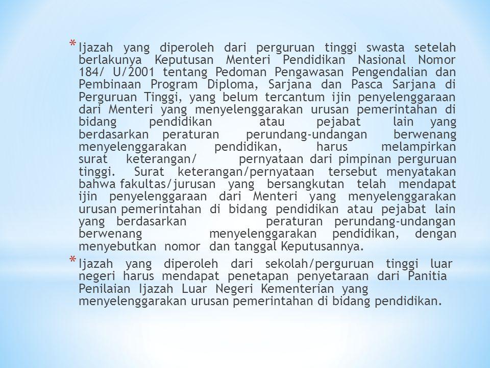 * Ijazah yang diperoleh dari perguruan tinggi swasta setelah berlakunya Keputusan Menteri Pendidikan Nasional Nomor 184/ U/2001 tentang Pedoman Pengaw