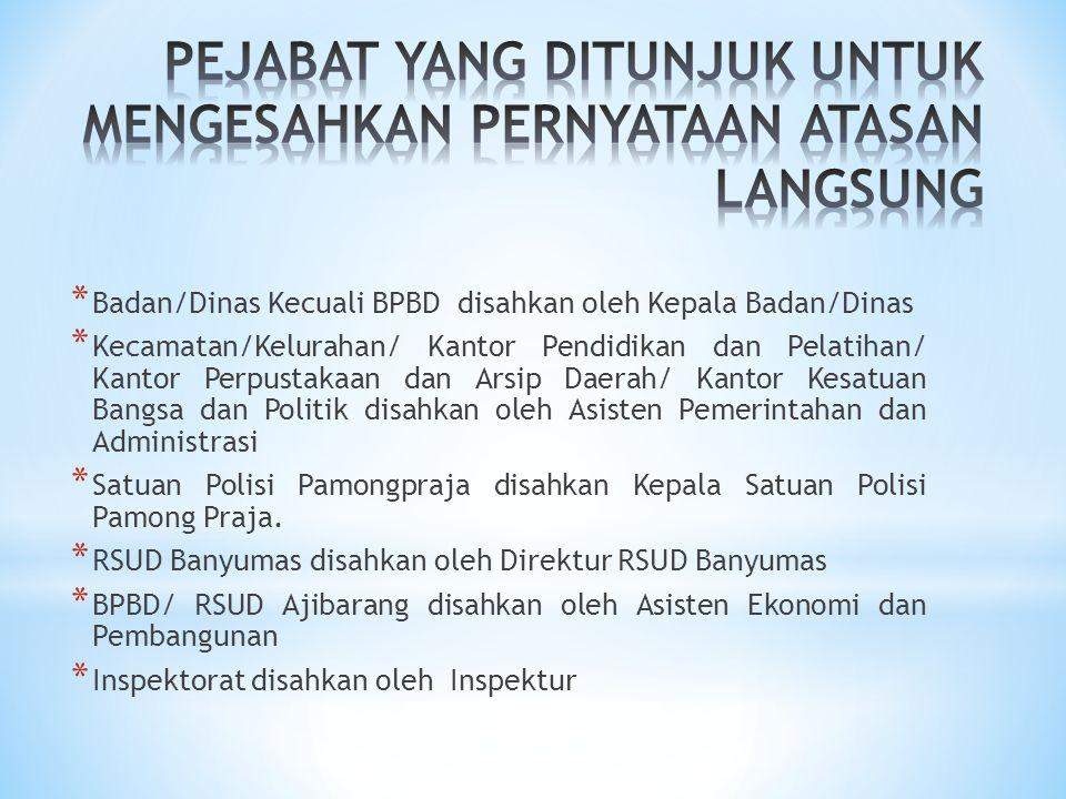 * Badan/Dinas Kecuali BPBD disahkan oleh Kepala Badan/Dinas * Kecamatan/Kelurahan/ Kantor Pendidikan dan Pelatihan/ Kantor Perpustakaan dan Arsip Daer
