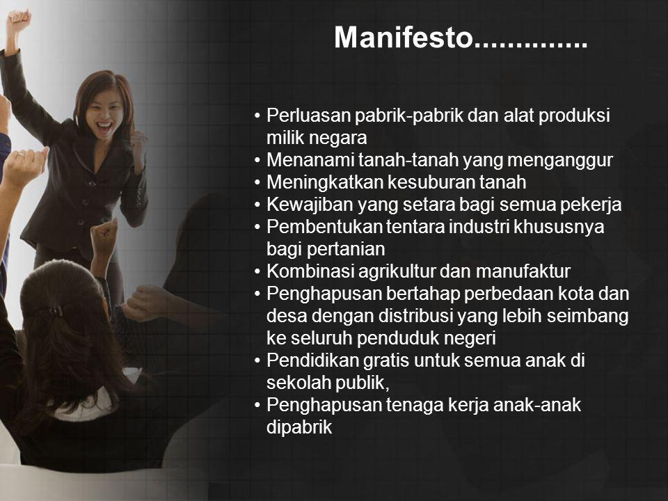 Manifesto.............. Perluasan pabrik-pabrik dan alat produksi milik negara Menanami tanah-tanah yang menganggur Meningkatkan kesuburan tanah Kewaj