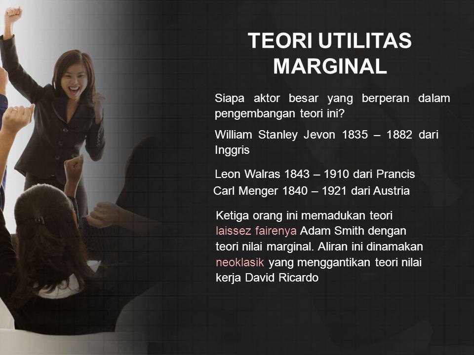 TEORI UTILITAS MARGINAL Siapa aktor besar yang berperan dalam pengembangan teori ini.