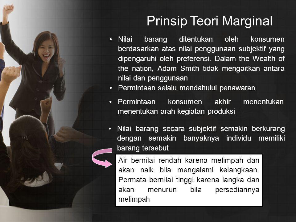 Prinsip Teori Marginal Nilai barang ditentukan oleh konsumen berdasarkan atas nilai penggunaan subjektif yang dipengaruhi oleh preferensi.