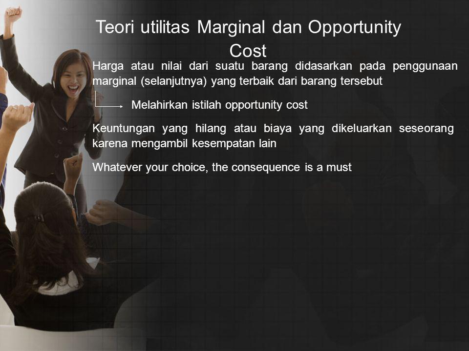 Harga atau nilai dari suatu barang didasarkan pada penggunaan marginal (selanjutnya) yang terbaik dari barang tersebut Melahirkan istilah opportunity