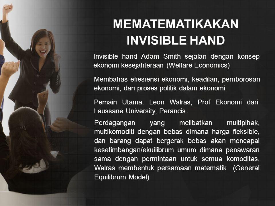 MEMATEMATIKAKAN INVISIBLE HAND Invisible hand Adam Smith sejalan dengan konsep ekonomi kesejahteraan (Welfare Economics) Membahas efiesiensi ekonomi, keadilan, pemborosan ekonomi, dan proses politik dalam ekonomi Pemain Utama: Leon Walras, Prof Ekonomi dari Laussane University, Perancis.