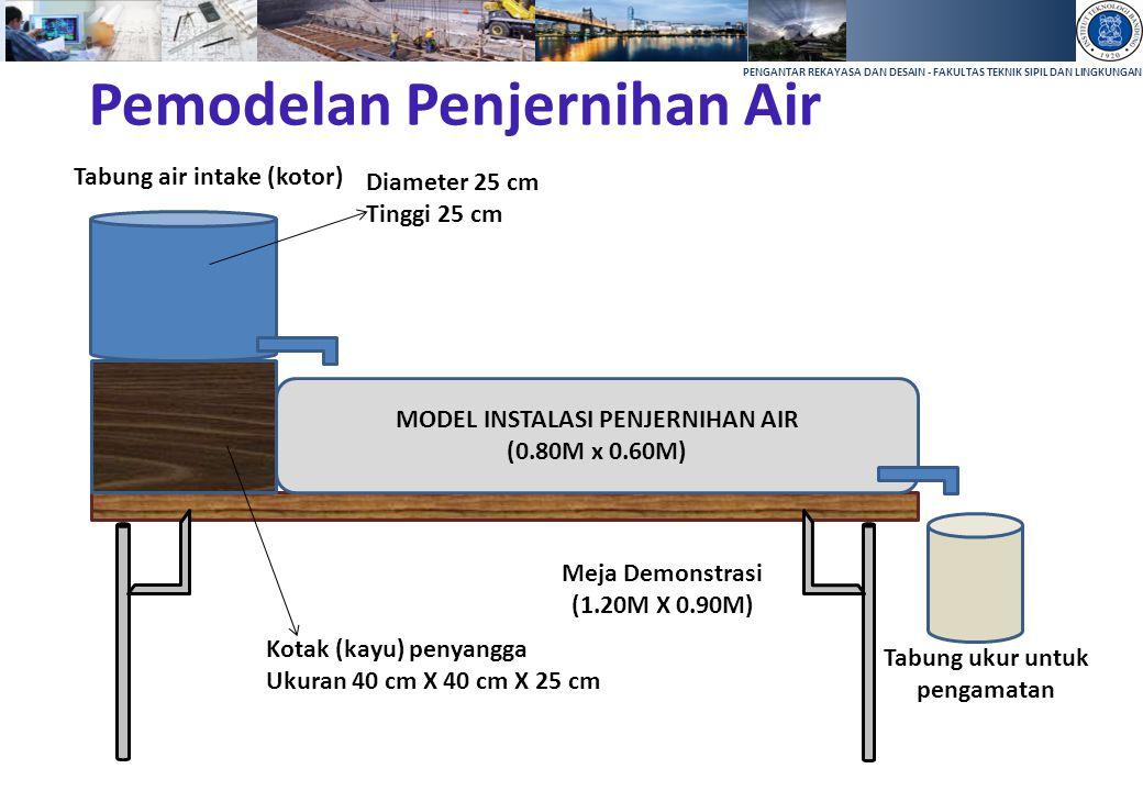 PENGANTAR REKAYASA DAN DESAIN - FAKULTAS TEKNIK SIPIL DAN LINGKUNGAN Pemodelan Penjernihan Air MODEL INSTALASI PENJERNIHAN AIR (0.80M x 0.60M) Tabung