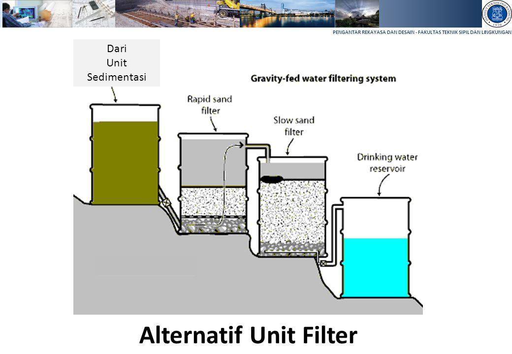PENGANTAR REKAYASA DAN DESAIN - FAKULTAS TEKNIK SIPIL DAN LINGKUNGAN Alternatif Unit Filter Dari Unit Sedimentasi