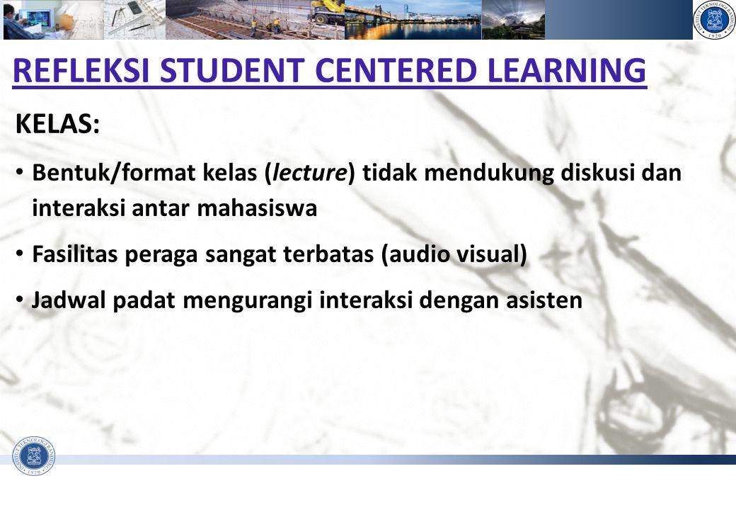 PENGANTAR REKAYASA DAN DESAIN - FAKULTAS TEKNIK SIPIL DAN LINGKUNGAN REFLEKSI STUDENT CENTERED LEARNING KELAS: Bentuk/format kelas (lecture) tidak men