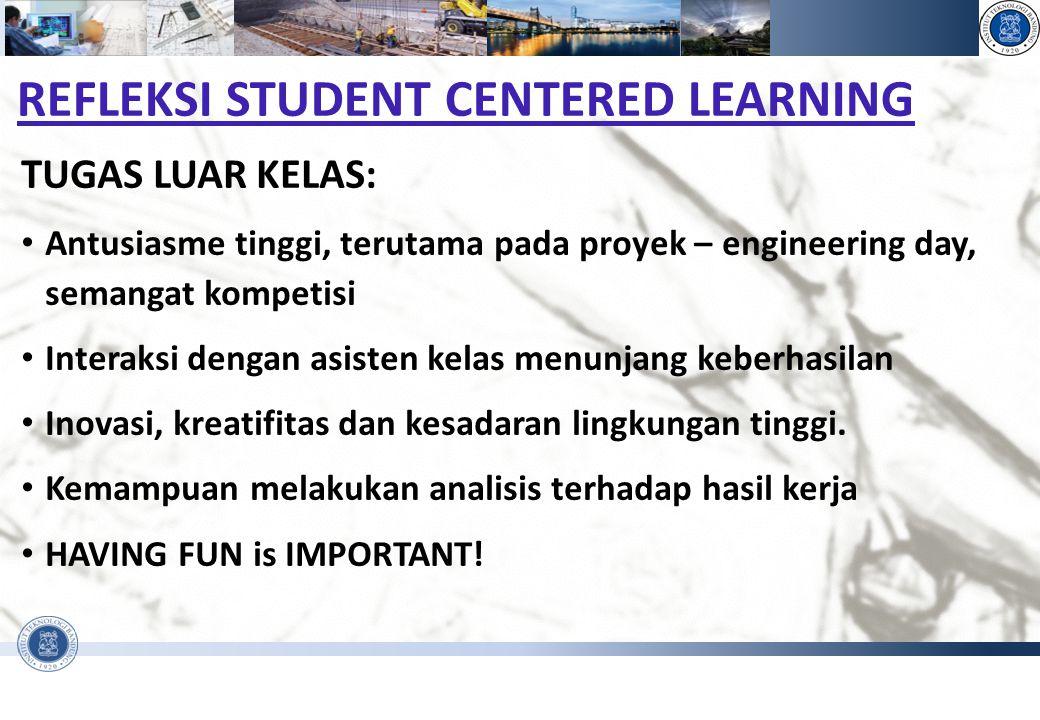 PENGANTAR REKAYASA DAN DESAIN - FAKULTAS TEKNIK SIPIL DAN LINGKUNGAN REFLEKSI STUDENT CENTERED LEARNING TUGAS LUAR KELAS: Antusiasme tinggi, terutama
