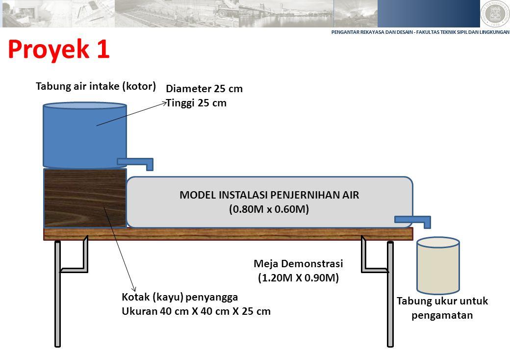 PENGANTAR REKAYASA DAN DESAIN - FAKULTAS TEKNIK SIPIL DAN LINGKUNGAN Proyek 1 MODEL INSTALASI PENJERNIHAN AIR (0.80M x 0.60M) Tabung ukur untuk pengam
