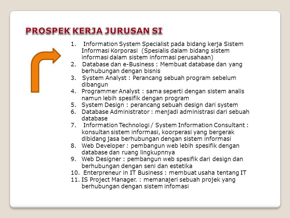 1. Information System Specialist pada bidang kerja Sistem Informasi Korporasi (Spesialis dalam bidang sistem informasi dalam sistem informasi perusaha