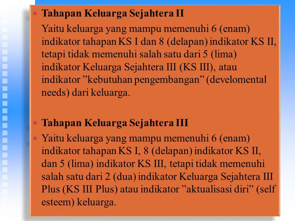 Tahapan Keluarga Sejahtera II Yaitu keluarga yang mampu memenuhi 6 (enam) indikator tahapan KS I dan 8 (delapan) indikator KS II, tetapi tidak memenuhi salah satu dari 5 (lima) indikator Keluarga Sejahtera III (KS III), atau indikator kebutuhan pengembangan (develomental needs) dari keluarga.
