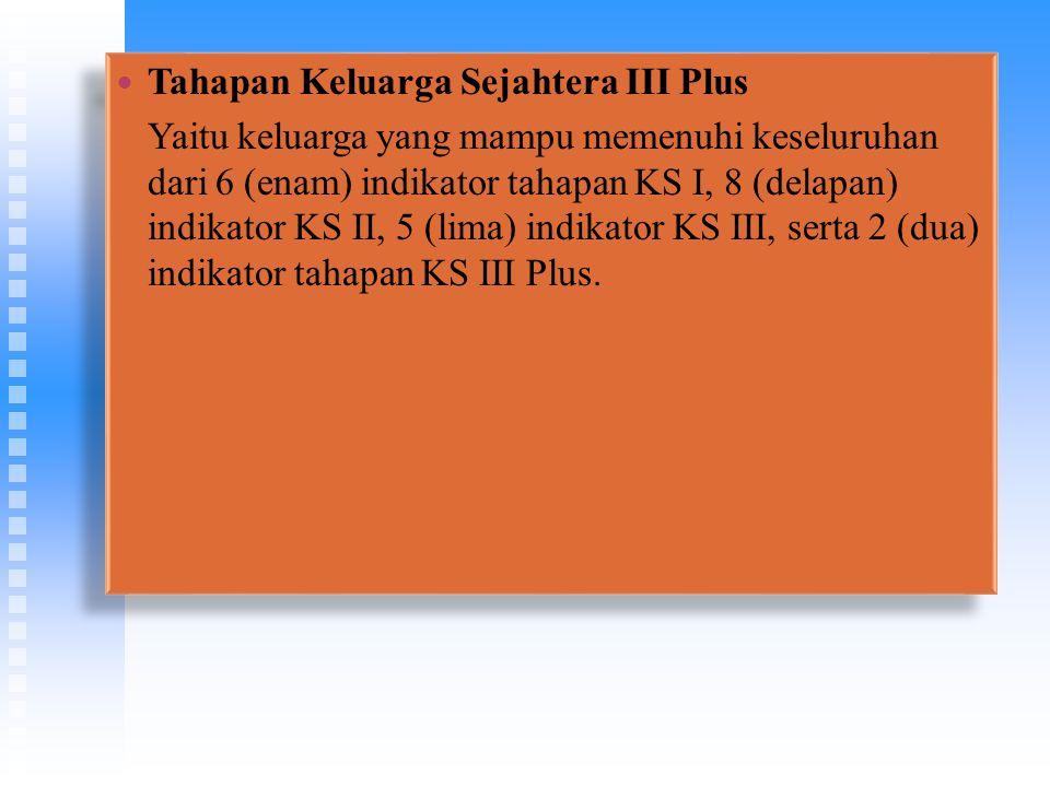 Tahapan Keluarga Sejahtera III Plus Yaitu keluarga yang mampu memenuhi keseluruhan dari 6 (enam) indikator tahapan KS I, 8 (delapan) indikator KS II,
