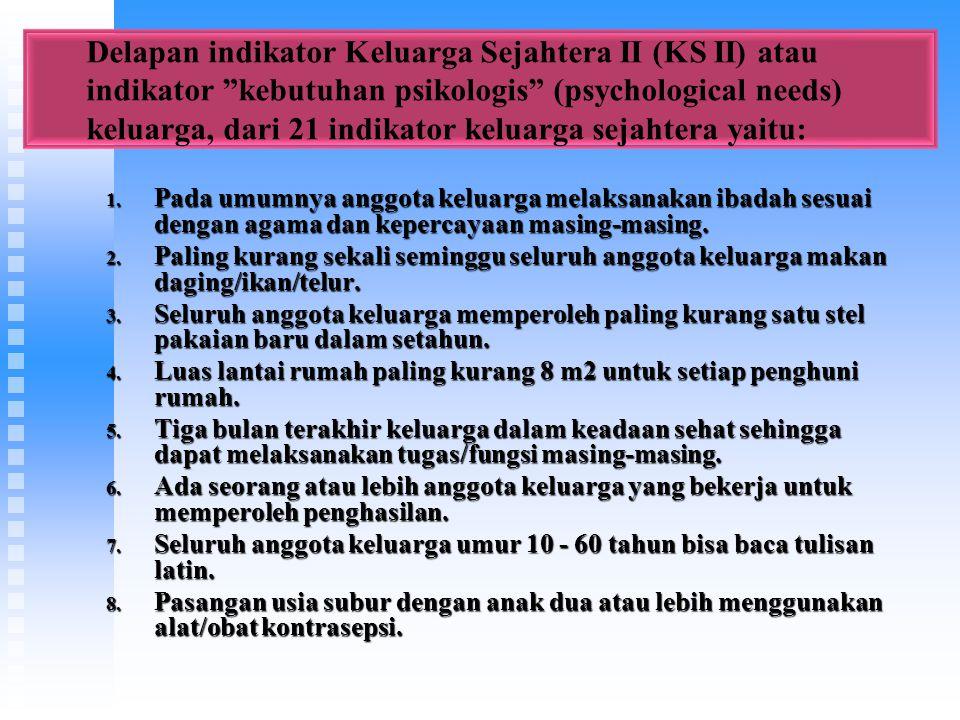 Delapan indikator Keluarga Sejahtera II (KS II) atau indikator kebutuhan psikologis (psychological needs) keluarga, dari 21 indikator keluarga sejahtera yaitu: 1.