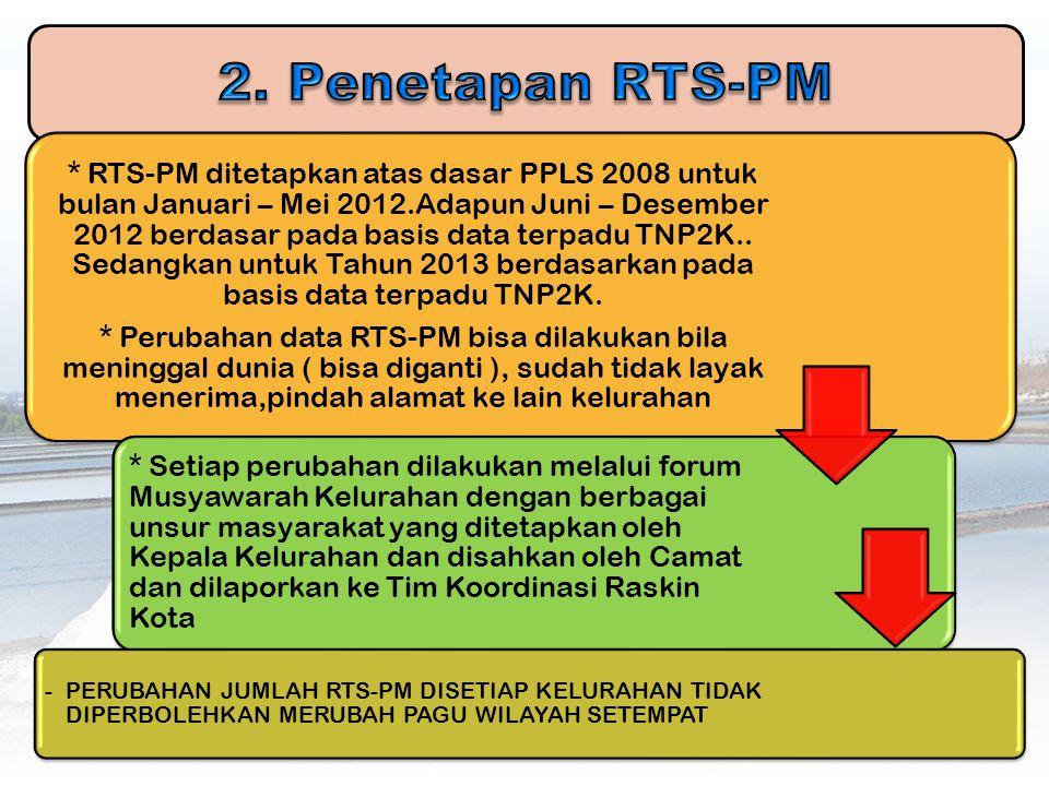 * RTS-PM ditetapkan atas dasar PPLS 2008 untuk bulan Januari – Mei 2012.Adapun Juni – Desember 2012 berdasar pada basis data terpadu TNP2K.. Sedangkan