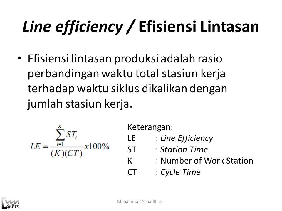 Line efficiency / Efisiensi Lintasan Muhammad Adha Ilhami Efisiensi lintasan produksi adalah rasio perbandingan waktu total stasiun kerja terhadap wak