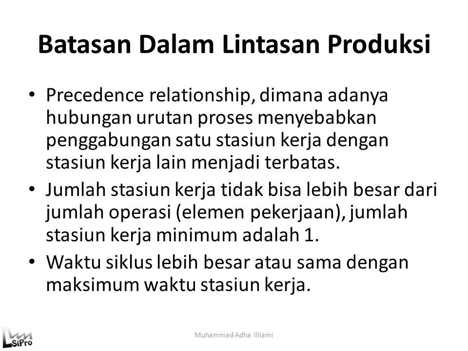 Batasan Dalam Lintasan Produksi Precedence relationship, dimana adanya hubungan urutan proses menyebabkan penggabungan satu stasiun kerja dengan stasi