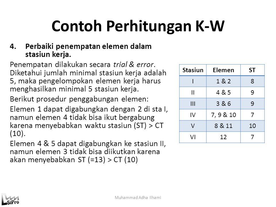 Contoh Perhitungan K-W 4.Perbaiki penempatan elemen dalam stasiun kerja. Penempatan dilakukan secara trial & error. Diketahui jumlah minimal stasiun k