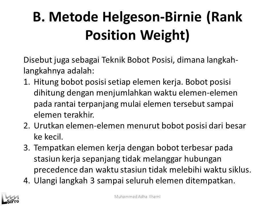 B. Metode Helgeson-Birnie (Rank Position Weight) Muhammad Adha Ilhami Disebut juga sebagai Teknik Bobot Posisi, dimana langkah- langkahnya adalah: 1.H