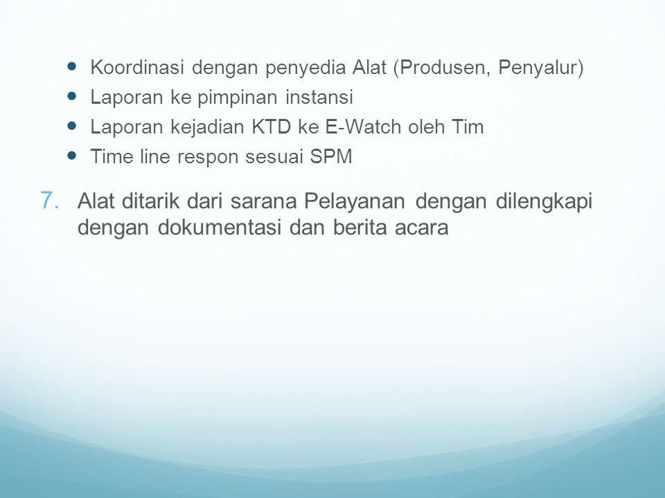 Koordinasi dengan penyedia Alat (Produsen, Penyalur) Laporan ke pimpinan instansi Laporan kejadian KTD ke E-Watch oleh Tim Time line respon sesuai SPM