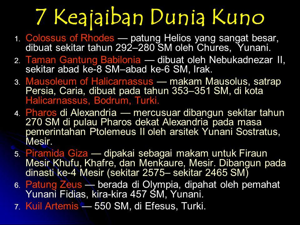 7 Keajaiban Dunia Pertengahan 1.Katakombe Kom el Shoqafa 2.