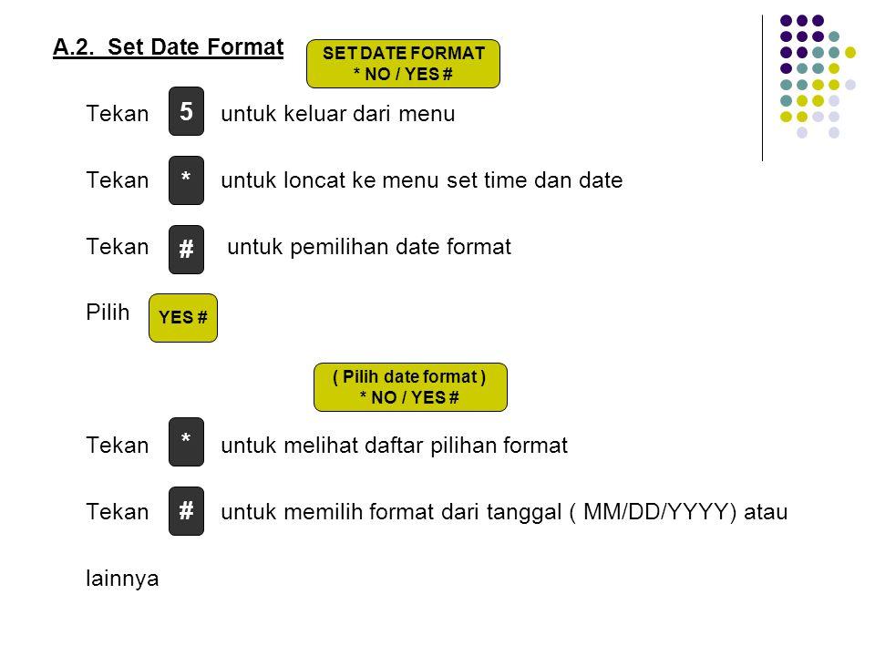 A.2. Set Date Format Tekan untuk keluar dari menu Tekan untuk loncat ke menu set time dan date Tekan untuk pemilihan date format Pilih Tekan untuk mel