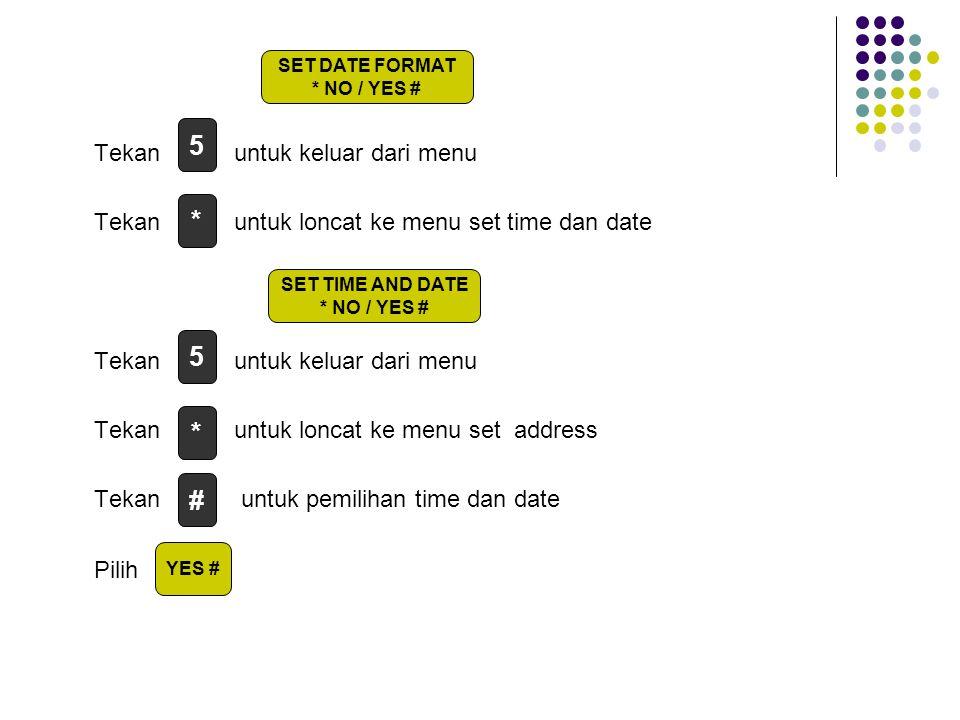Tekan untuk keluar dari menu Tekan untuk loncat ke menu set time dan date Tekan untuk keluar dari menu Tekan untuk loncat ke menu set address Tekan untuk pemilihan time dan date Pilih 5 * # SET DATE FORMAT * NO / YES # SET TIME AND DATE * NO / YES # 5 * YES #
