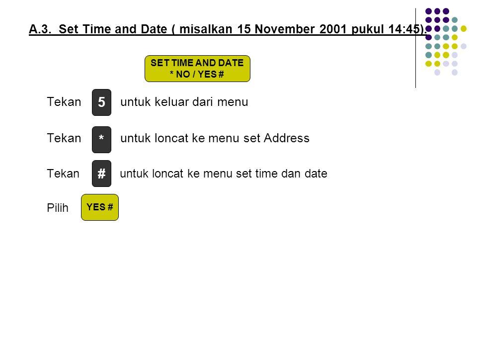 A.3. Set Time and Date ( misalkan 15 November 2001 pukul 14:45). Tekan untuk keluar dari menu Tekan untuk loncat ke menu set Address Tekan untuk lonca